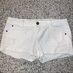 EUC white denim cut off shorts distressed